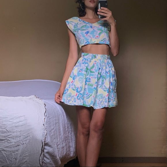 Cute tropical two piece crop top skirts set